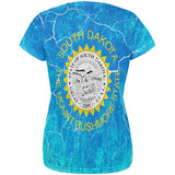 South Dakota Vintage Distressed State Flag All Over Womens T Shirt
