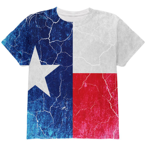 Texas Vintage Distressed State Flag All Over Youth T Shirt