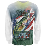 4th of July Always Be Yourself American Fishing All Over Mens Long Sleeve T Shirt