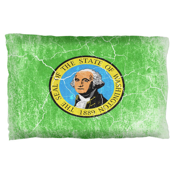 Washington Vintage Distressed State Flag Pillow Case