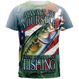 4th of July Always Be Yourself American Fishing All Over Mens T Shirt