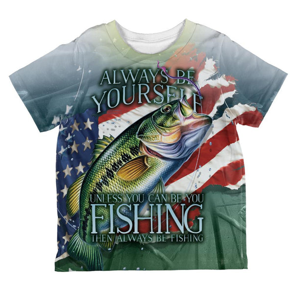 4th of July Always Be Yourself American Fishing All Over Toddler T Shirt