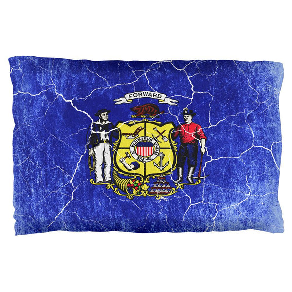 Wisconsin Vintage Distressed State Flag Pillow Case