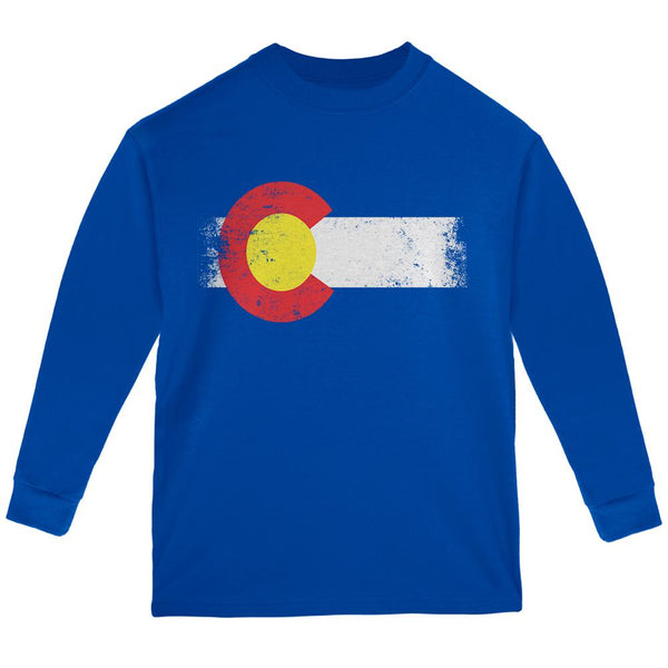 Born and Raised Colorado State Flag Youth Long Sleeve T Shirt