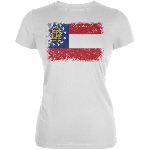 Born and Raised Georgia State Flag Juniors Soft T Shirt