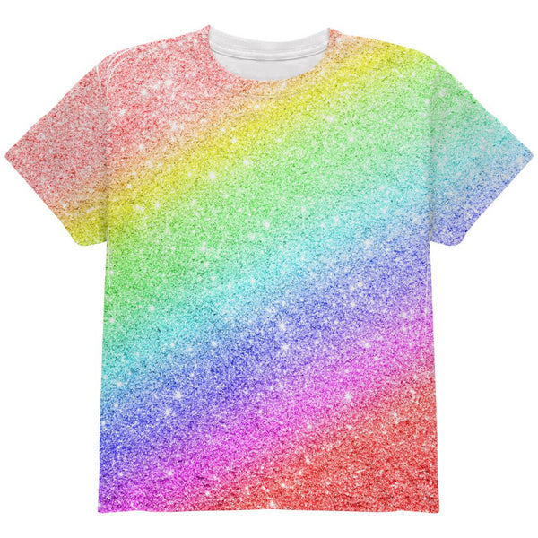 LGBTQ Pride Faux Rainbow Glitter All Over Youth T Shirt