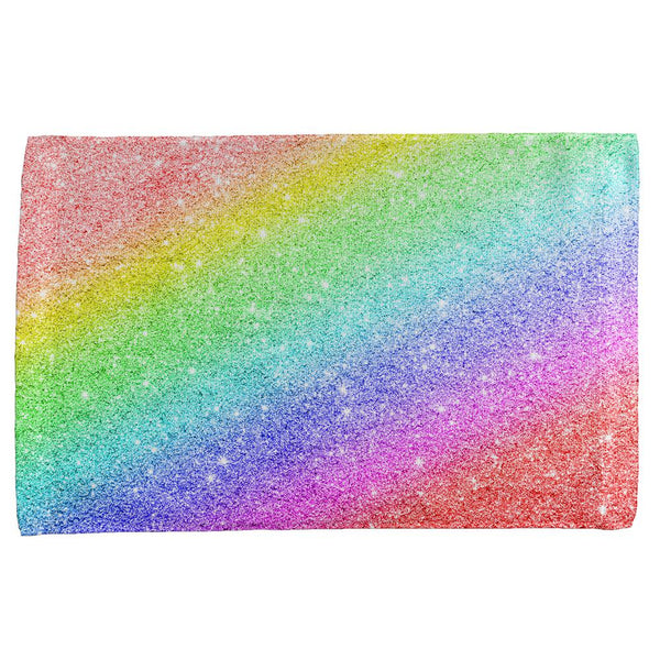 LGBTQ Pride Faux Rainbow Glitter All Over Hand Towel