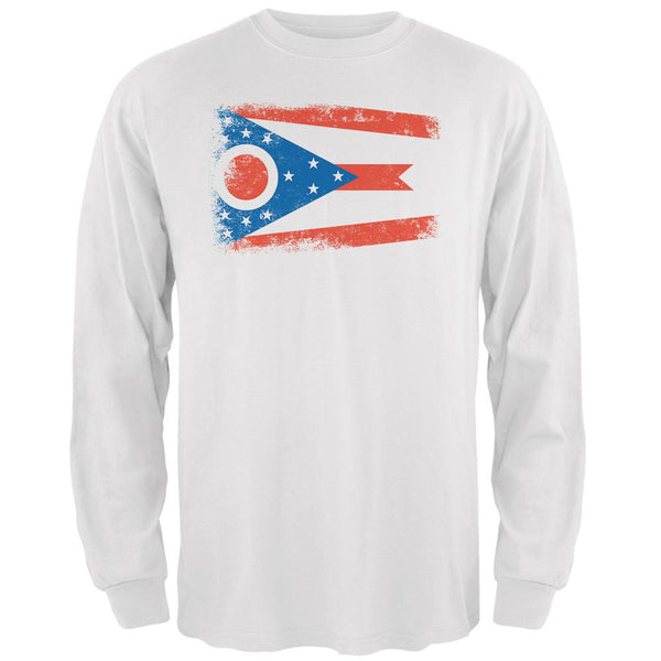 Born and Raised Ohio State Flag Mens Long Sleeve T Shirt
