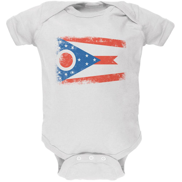 Born and Raised Ohio State Flag Soft Baby One Piece