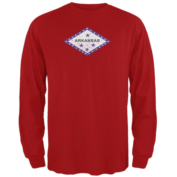 Born and Raised Arkansas State Flag Mens Long Sleeve T Shirt