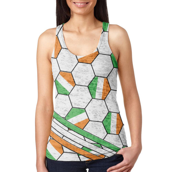 World Cup Ireland Soccer Ball Juniors Burnout Racerback Tank Top