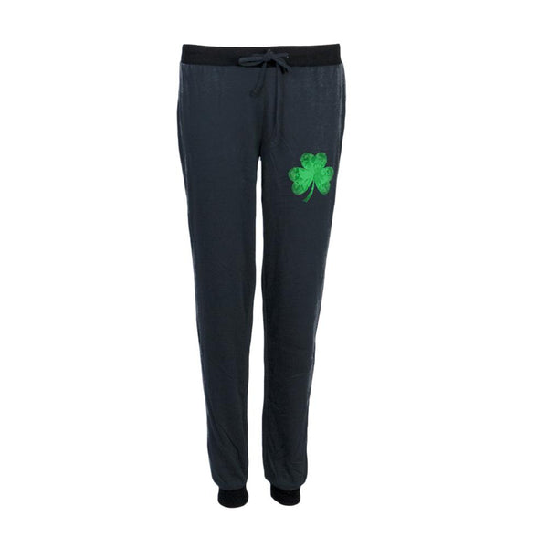 St. Patricks Day Jeweled Shamrock Juniors Pajama Pants