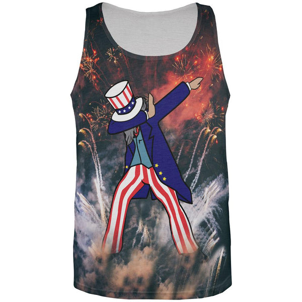 4th of July Dabbing Uncle Sam Fireworks Sub All Over Mens Tank Top