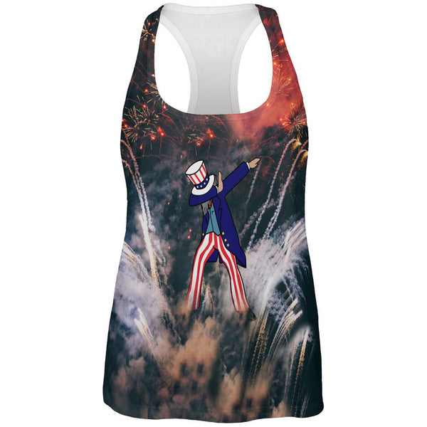 4th of July Dabbing Uncle Sam Fireworks Sub All Over Womens Work Out Tank Top
