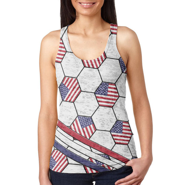 4th of July USA World Cup Soccer Ball Juniors Burnout Racerback Tank Top