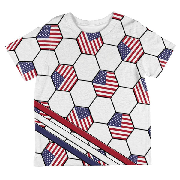 4th of July USA World Cup Soccer Ball All Over Toddler T Shirt