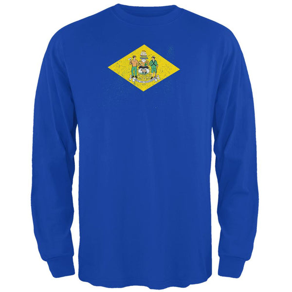 Born and Raised Delaware State Flag Mens Long Sleeve T Shirt