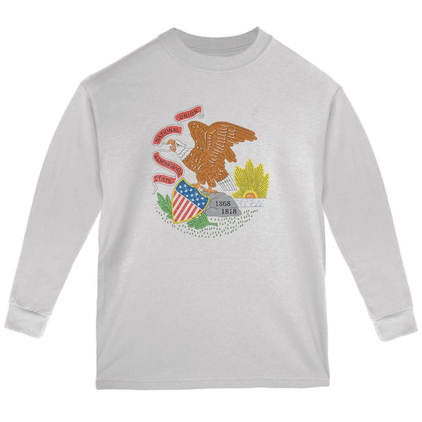 Born and Raised Illinois State Flag Youth Long Sleeve T Shirt