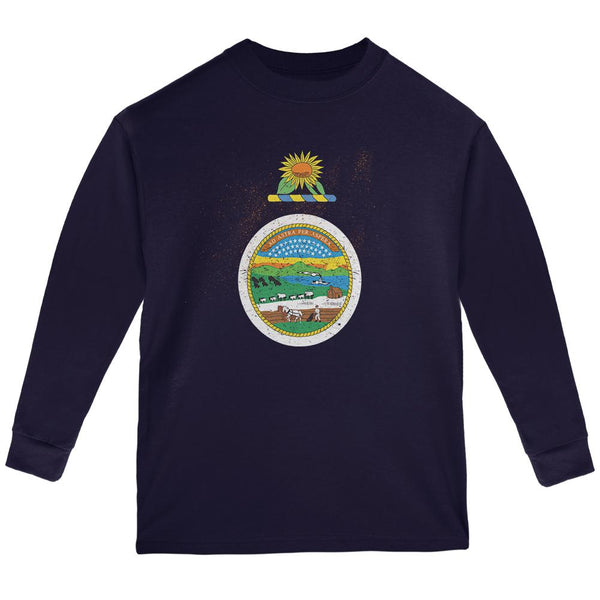 Born and Raised Kansas State Flag Youth Long Sleeve T Shirt