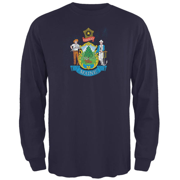Born and Raised Maine State Flag Mens Long Sleeve T Shirt