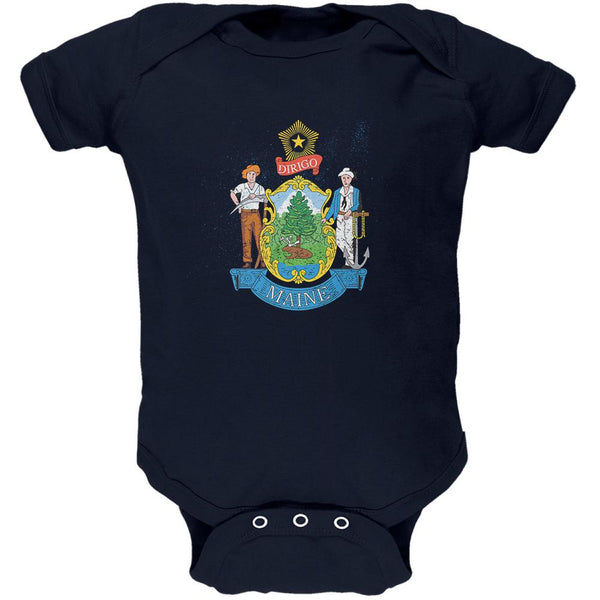 Born and Raised Maine State Flag Soft Baby One Piece