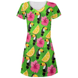 Tropical Vacation Toucan Pattern All Over Juniors Beach Cover-Up Dress