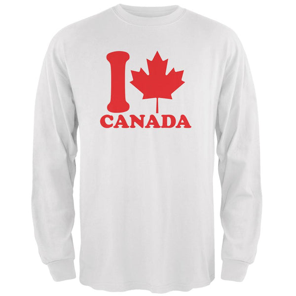 I Love Maple Leaf Heart Canada Mens Long Sleeve T Shirt