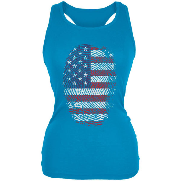 4th of July American Flag Pride Thumbprint Juniors Soft Tank Top