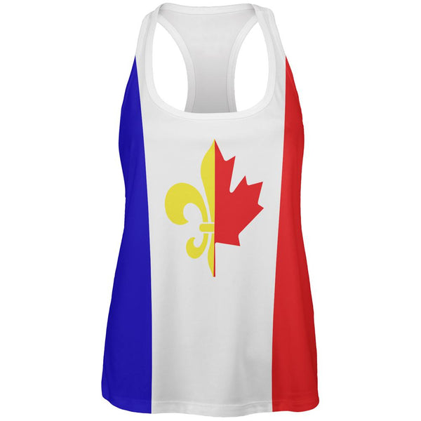 French Canadian Flag All Over Womens Work Out Tank Top