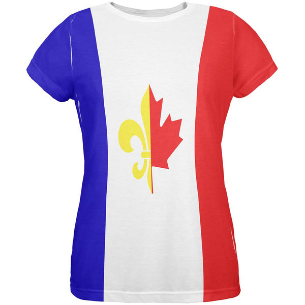 French Canadian Flag All Over Womens T Shirt