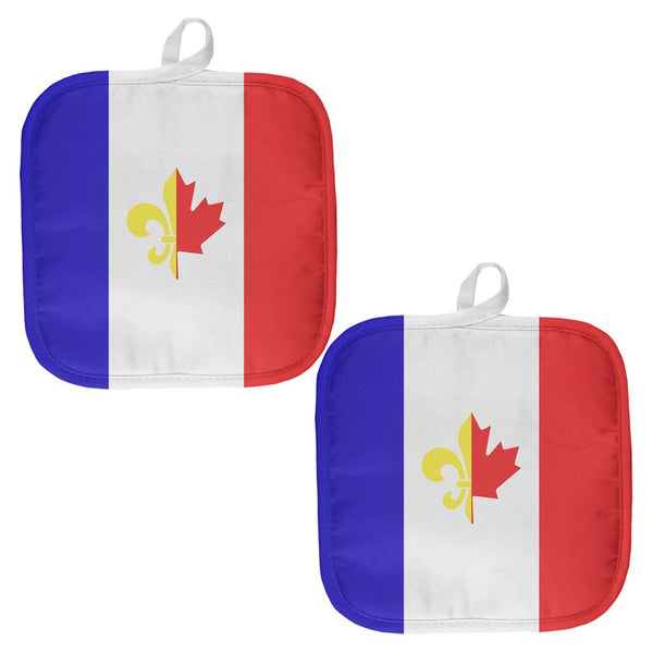 French Canadian Flag All Over Pot Holder (Set of 2)