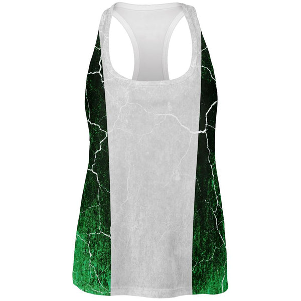 Distressed Grunge Flag of Nigeria All Over Womens Work Out Tank Top
