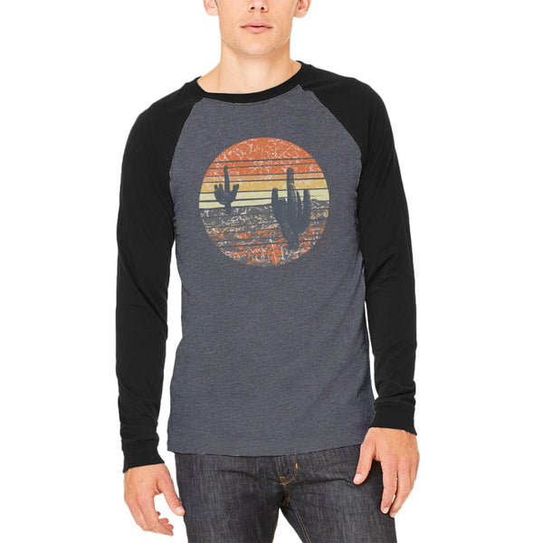 Vintage Cactus Sunset Adult Long Sleeve Raglan T-Shirt