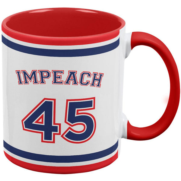Impeach 45 45th President Donald Trump Red Handle Coffee Mug