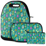Watercolor Retro Cactus Bold Pastel Pattern Repeat Lunch Snack Set