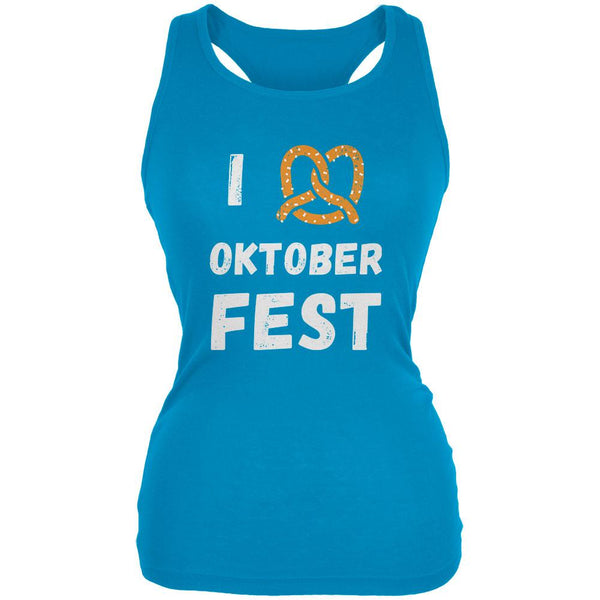 I Heart Love Pretzel Oktoberfest Juniors Soft Tank Top