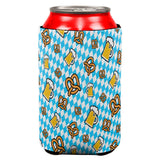 Oktoberfest Beer and Pretzels Bavarian Repeat Pattern All Over Can Cooler