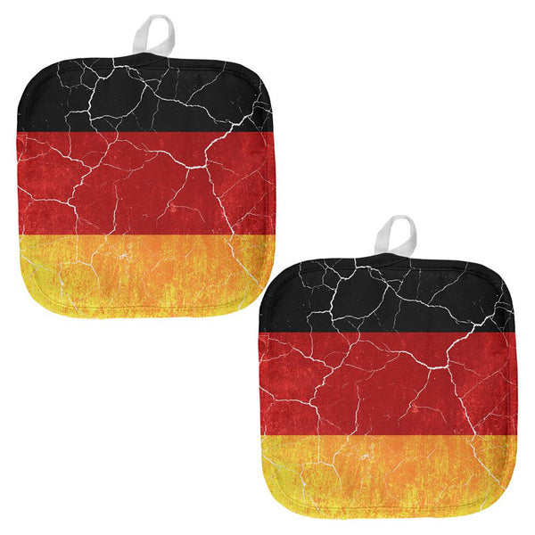 Oktoberfest Distressed Grunge German Flag All Over Pot Holder (Set of 2)