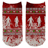 Ugly Christmas Sweater Bloody Zombie Attack Survivor All Over Adult Ankle Socks