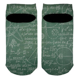Math Geek Formulas Chalkboard All Over Adult Ankle Socks