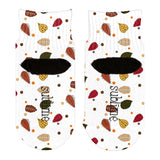 Autumn Leaves Pattern All Over Toddler Ankle Socks
