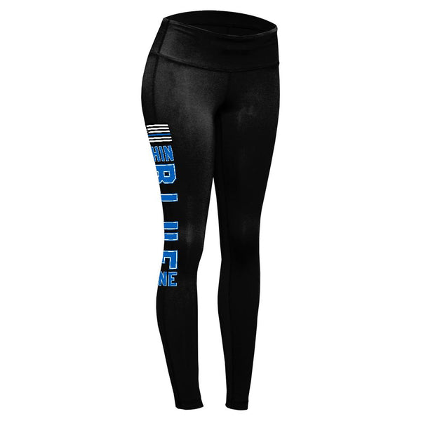 Blue Lives Matter Thin Blue Line American Flag Womens Performance Leggings