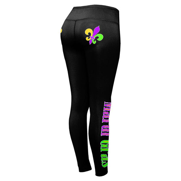 Mardi Gras Fleur De Lis Womens Performance Leggings