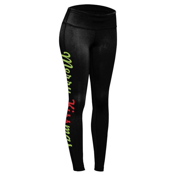 Christmas Mistletoe Merry Kissmas Womens Performance Leggings