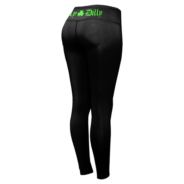St. Patricks Day Dilly Dilly Shamrock Womens Performance Leggings