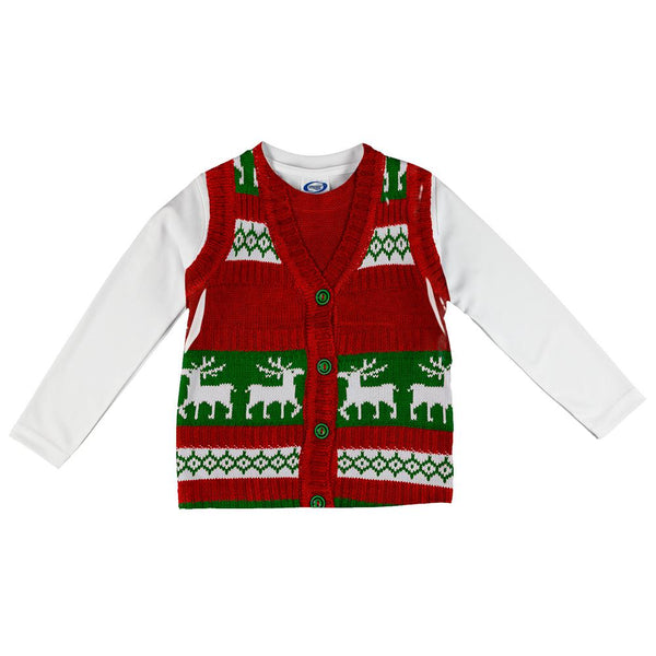 ugly christmas sweater vest costume all over infant long sleeve t shirt - Christmas Sweater Vest