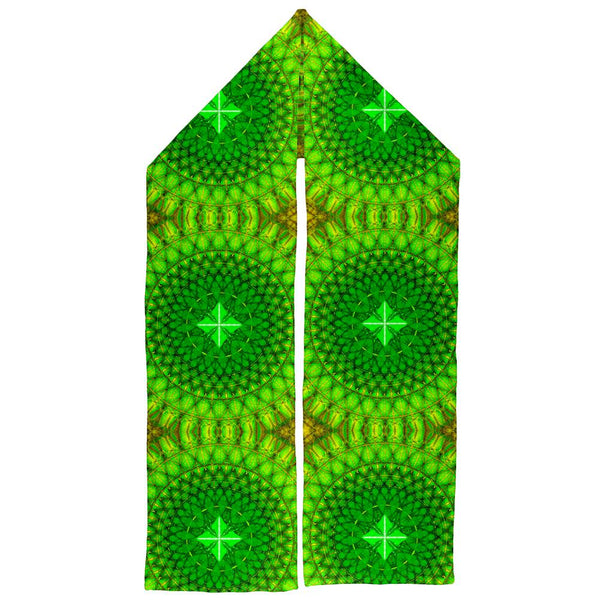 St Patrick's Day Shamrock Fractal Mandala Warm Fleece Scarf
