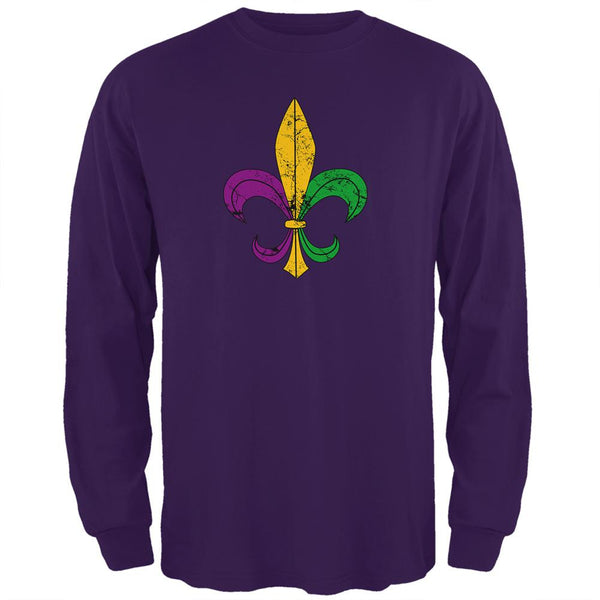 Mardi Gras Fleur De Lis Distressed Mens Long Sleeve T Shirt