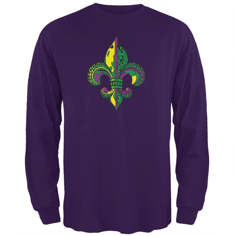 c83417f2 Mardi Gras Ornate Colorful Fleur-de-Lis Mens Long Sleeve T Shirt