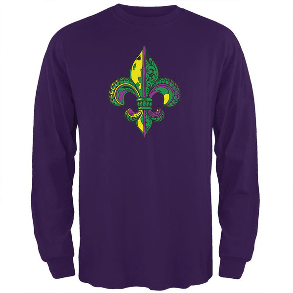 Mardi Gras Ornate Colorful Fleur-de-Lis Mens Long Sleeve T Shirt
